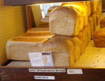100 percent wholemeal bread in Ludlow bakery using flour from a stone ground mill.