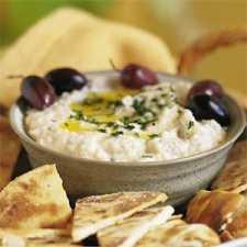Baba ghanoush with olives; sometimes spelt ganoush.