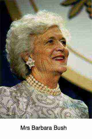 First Lady of the United States from 1989 to 1993, Mrs Barbara Bush.