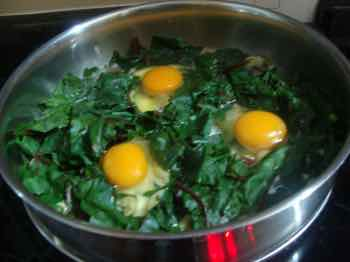 Beet greens can be used to make a wonderful eggs Florentine.