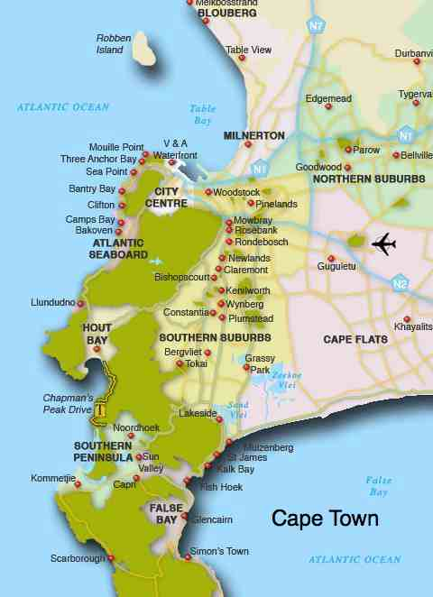 A map of the Cape Town suburbs where you find a chiropractor.