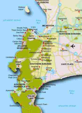 Map of the Cape Town suburbs where chiropractors can be found.