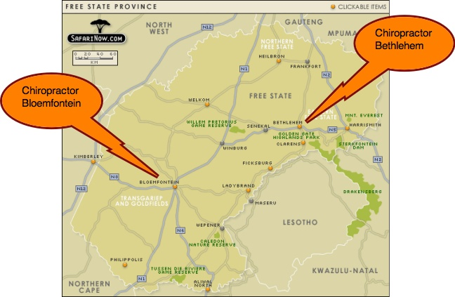 A map showing Bloemfontein and Bethlehem in South Africa where there are chiropractors.