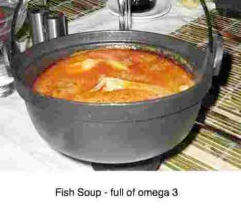 Fish soup is rich in omega-3.