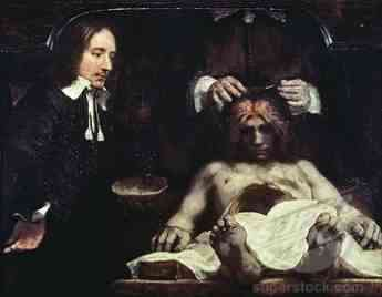 Rembrandt's classic painting of a physician peeling off the meninges, likely of a patient suffering from headache and neck pain.