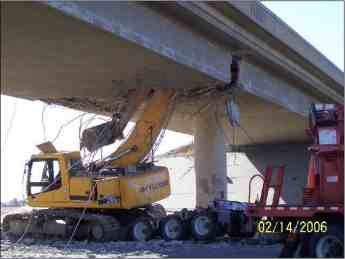 This accident in which a track hoe struck a bridge could certainly cause headaches.
