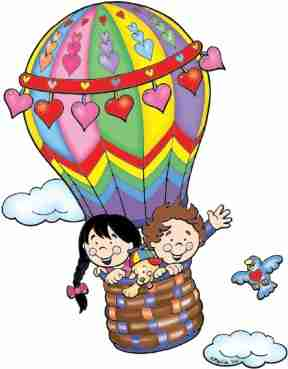 Cartoon of a hot air balloon.