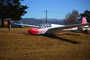 A K13 glider at Howick airfield is where Barrie Lewis spent many hours soaring.