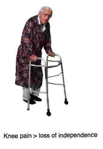Knee pain leads to disability and in the elderly a walker.