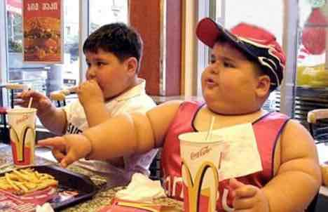 Obese fast food boys in McDonalds.