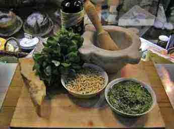 The basic ingredients of pesto.