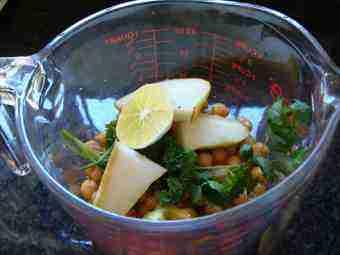 Quick hummus fresh ingredients