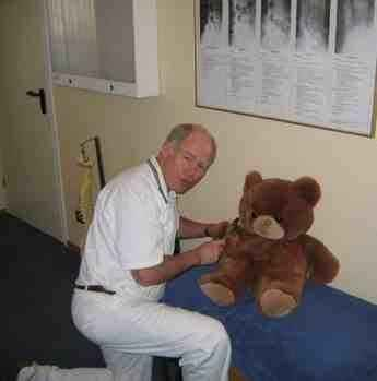 Teddy being examined