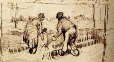 Van Gogh painting of diggers busy in the fields.