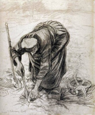 Sketch by van Gogh of a woman bending in the fields.