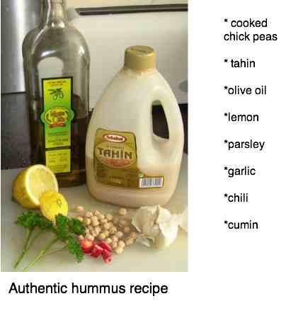 Authentic hummus recipe has chickpeas and tahin