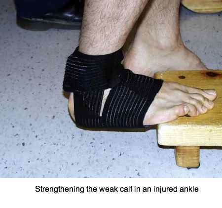 Strengthening and stretching the calf muscles and the achilles tendon is the aim of these ankle exercises.