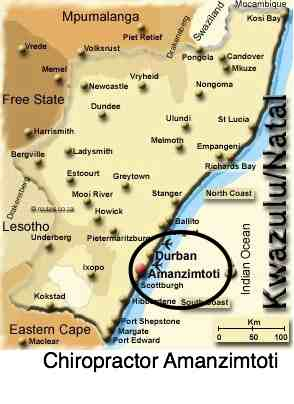 Map of Amanzimtoti to help you find a chiropractor.