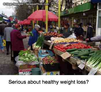 Fresh fruit and salad market is the place to find help with weight loss.