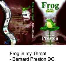 Cover of Frog in my Throat, a book by Bernard Preston, including a story on the thoracic outlet syndrome.