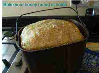 Honey bread in the pan is just waiting for a cream cheese dip.