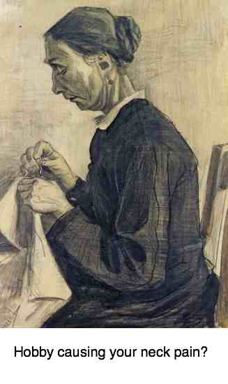 This sketch by van Gogh shows why sewing may cause neck pain.