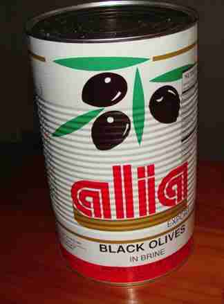 Large can of olives in bulk.
