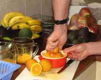 When squeezing orange juice don't use the filter; the pulp contains at least half of the nutrients.