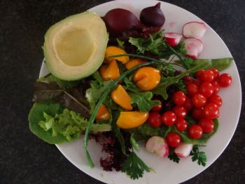 This summer salad is rich in soluble fibre; all medicine research indicates it's good for the colon.