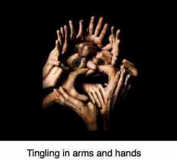 A picture of many fingers suggesting the complexity of tingling in arms and hands.