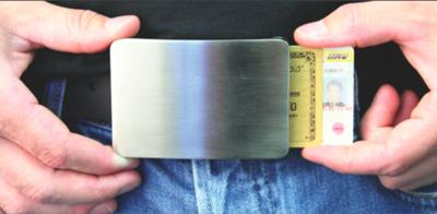 Belt buckle holds IDs and credit cards so you don't have to carry your wallet